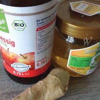 Apfelessig, ingwer, honig